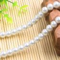 Beads, Glass Imitation pearls, Glass, White , Round shape, Diameter 8mm, 18 Beads, [FZZ0031]
